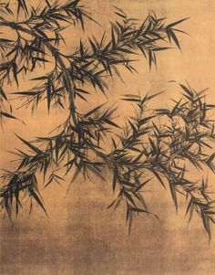Wen T'ung (1018-1079). Bamboo. ca.1070, Northern Sung dynasty. Hanging scroll, ink on silk. National Palace Museum, Taipei.Wen Tung has seen so many bamboos at different growth stages that he didn't need to look at a bamboo to be able to draw it.