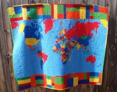 World map quilt for kids teens or adults wall by greatquiltations world map quilt pieced quilted blanket 55 by 48 inches by heritageandheart on etsy gumiabroncs Images