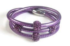 Purple Leather Rhinestone Bracelet Womens Leather Bracelet Purple Leather, Real Leather, Braided Leather, Leather Design, Bracelet Sizes, Leather Jewelry, Unique Jewelry, Bracelets, Jewellery