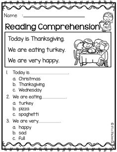Printable Kindergarten Worksheets 2 Thanksgiving Reading Comprehension Worksheets Cvc For Kindergarten Pdf Picture Worksheet Printable Multiple Choice And First Grade Pass First Grade Worksheets, Free Kindergarten Worksheets, Kindergarten Reading, Worksheets For Kids, Preschool Kindergarten, Literacy Worksheets, Math Literacy, Preschool Activities, Maths