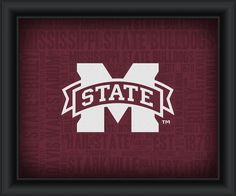 """Mississippi State University """"College Logo Plus Word Clouds""""-15 x18 Framed Print"""