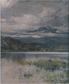 Eliseo Meifrén Roig. Lago y montaña. Óleo sobre lienzo. Firmado. 60 x 50 cm. Museu Deu, El Vendrell, Tarragona.
