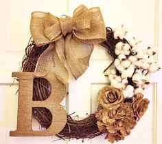 Rustic Country Fall Cotton Boll Grapevine Wreath with Burlap Roses and Hydrangeas with Custom Twine Initial by MelissasGlueGunShop on Etsy https://www.etsy.com/listing/205855012/rustic-country-fall-cotton-boll