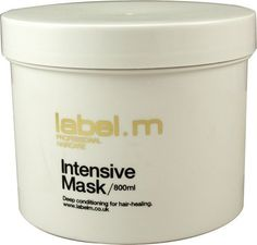 Label. M Intensive Mask - 27 oz by Label.M Professional Haircare. $38.30. Label. M Intensive MaskBran, Cottonseeds, Shea Butter and Amazon Cupuau combine to hi-drench and restore hair. The exclusive Enviroshield Complex, detangles easily and shields against heat styling and UV rays.
