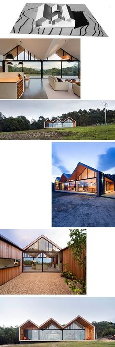 What caught my eye is the glass, and I like the outside area where it seems relaxing. Residential Architecture, Amazing Architecture, Modern Architecture, Prefab Homes, Modular Homes, Interesting Buildings, House Roof, House In The Woods, Building A House