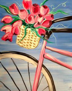 Spring Ride, bicycle tulip basket painting for beginners. Night Painting, Diy Painting, Art Painting, Spring Painting, Painting Inspiration, Painting, Art, Bicycle Painting, Canvas Painting Diy