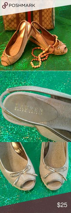 """Ralph  Lauren open toe shoes Ralph Lauren open toe shoes , gently owned but in good condition, about 3""""tall Shoes"""