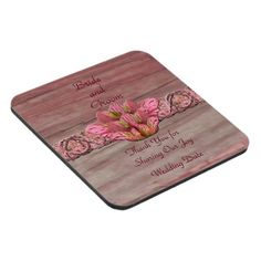 NY Pink Rustic Lily Wedding Beverage Coaster