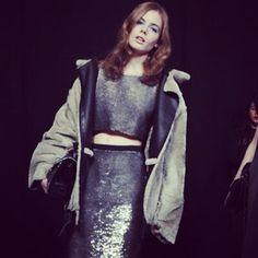 Soft glimmering sequins are given the cool factor with a throw on chubby. #Topshop Unique