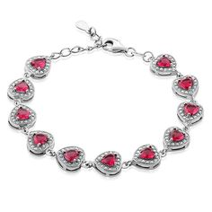 Sterling Silver Heart Shape Red Zirconia Women's Tennis Bracelet, 7 inches   1 inch Extender * Read more at the image link.-It is an affiliate link to Amazon. #Bracelet