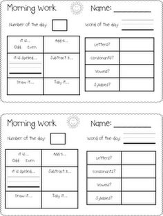 Today in First Grade...: Morning Work Freebie