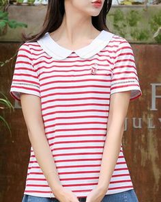 Blue and white striped t shirt preppy style Peter Pan collar tops for girls