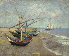 Vincent van Gogh - Fishing Boats on the Beach at Les Saintes-Maries-de-la-Mer   by Gandalf's Gallery