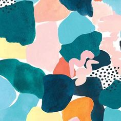 The Print-Focused Textiles of Cassie Byrnes - Design Milk Textures Patterns, Print Patterns, Watercolor Hand Lettering, Watercolour, Art For Art Sake, Pattern Wallpaper, Abstract Pattern, Artwork Prints, Textile Design