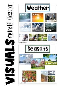 Add vocabulary visuals of weather and seasons to the classroom with these 11 x 8.5 real life images. Perfect for the ESL classroom! English Language Learners, Winter Springs, Anchor Charts, Life Images, Teaching English, Esl, Vocabulary, Real Life, Classroom