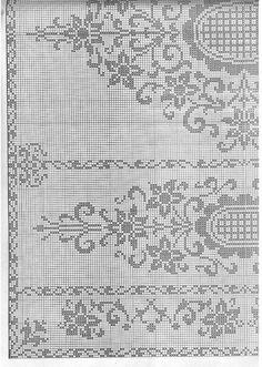 "Photo from album ""Burda special Filet au crochet on Yandex. Filet Crochet Charts, Crochet Borders, Crochet Cross, Crochet Diagram, Crochet Stitches Patterns, Crochet Lace, Embroidery Patterns, Crochet Curtains, Crochet Tablecloth"