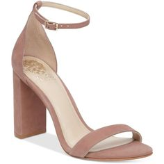 Vince Camuto Mairana High-Heel Strappy Sandals ($110) ❤ liked on Polyvore featuring shoes, sandals, dusty rose nubuck, strap sandals, block heel shoes, high heeled footwear, ankle tie sandals and high heel sandals