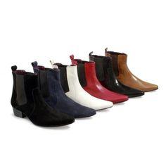 Gucinari Mens Leather Cuban Heel Pointed Funky Retro Winklepicker Chelsea Boots #Gucinari #ChelseaAnkleBoots #OfficeFormal