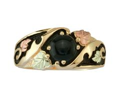 Digest of Fashion Gold Antiqued Onyx Ring by Black Hills