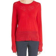 Rag and Bone Adriana Red Longsleeve Pullover