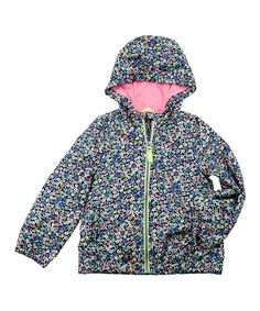Black & Blue Floral Hooded Jacket - Infant, Toddler & Girls