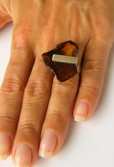 Amber Ring, Silver 925, RED, baltic amberstone, Unique NEW by JewellryWithSoul…