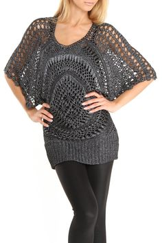 Dolman Sleeve Circular Crochet Top In Metallic Charcoal by Sioni.