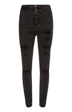 Primark - Black Ripped 3 Button Jeans
