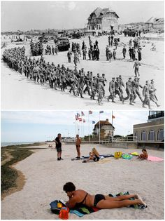 June marked a turning point in World War II as Allied troops stormed the beaches of Normandy, forcing the end of the German occupation of France. To mark this Friday's anniversary of D-Day, Reuters photographer Chris Helgren compiled a. D Day Photos, Then And Now Photos, Old Photos, D Day Normandy, Normandy Beach, Normandy Ww2, Normandy France, D Day Invasion, Juno Beach