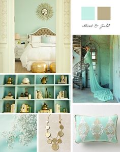 bedroom decor... Gold and blue green.                              …