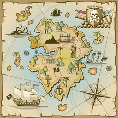 Ambesonne Island Map Decor Collection Cartoon Treasure Island with Pirate Ship Chest Kraken Octopus Nautical Kids Playroom Decor Living Room Bedroom Curtain 2 Panels Set 108 X 90 Inches Multi * For more information, visit image link.
