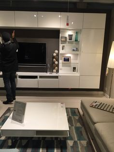 White with TVs Ken shelves White with TVs Ken shelves Ikea Tv Wall Unit, Living Room Wall Units, Ikea Living Room, Living Room Decor Cozy, Living Room Designs, Small Bedroom Interior, Apartment Interior, Tv Wall Cabinets, Tv Unit Furniture