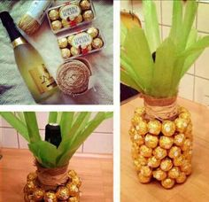 one of the coolest gifts I have ever seen. Champagne and ferreros wrapped up as pineapple!