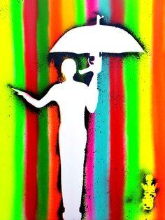 RAININ'IN PARADIZE :Pochoir original signé, papier 200gr 50x65cm. www.spiktriartdesign.com