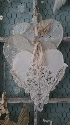 Pretty Hearts made from vintage lace, napkins, etc.