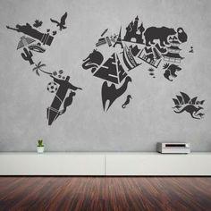 """Adesivo Murale - Monumenti del mondo. Un originale mappamondo!  Adesivo murale di alta qualità con pellicola opaca di facile installazione. Lo sticker si può applicare su qualsiasi superficie liscia: muro, vetro, legno e plastica.  L'adesivo murale """"Monumenti del mondo"""" è ideale per decorare il soggiorno. Adesivi Murali."""
