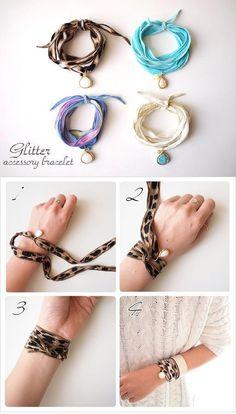 Ribbon Jewelry, Fabric Jewelry, Wire Jewelry, Boho Jewelry, Jewelry Art, Beaded Jewelry, Jewelery, Jewelry Bracelets, Handmade Jewelry