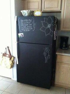 Chalkboard painting on a plain refrigerator.