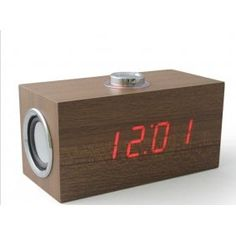 Wooden Digital Alarm snooze Clock Thermometer Date audio speaker can play music [00070019]- US$32.99 - DAYJOYBUY