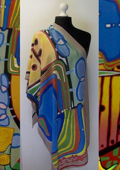 Hand painted silk shawl Hundertwasser natural silk scarf blue silk scarf rainbow scarf yellow silk s Painted Silk, Hand Painted, Silk Art, Silk Shawl, Mode Vintage, Fabric Painting, Silk Scarves, Shawls And Wraps, Wearable Art