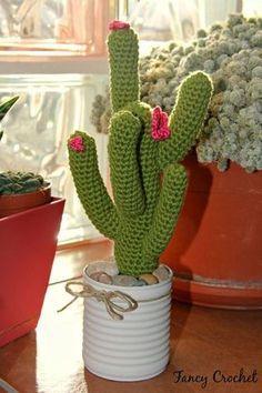 Fancy Crochet: Cactus in barattolo Crochet Puff Flower, Crochet Cactus, Crochet Flower Patterns, Crochet Toys Patterns, Crochet Flowers, Cactus Art, Cactus Flower, Cactus Plants, Flower Bookey