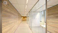 Linear wooden ceilings at TenneT, Arnhem Architect : Studio Groen + Schild  http://www.derako.com/nl/projecten/nl-overview/tennet-arnhem-121.html#!img_1372