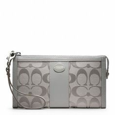 Coach Signature Zip Wallet - Silver. Starting at $25 on Tophatter.com!