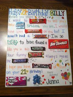 Candy gram Birthday card for the boyfriend