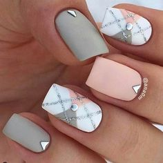 Checked pattern Summer squared nails. Rose pink and white grey pattern with silver