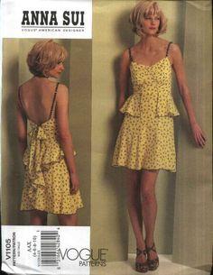 Vogue Sewing Pattern 1105 Misses Size 4-10 Anna Sui Summer Dress Sundress Ruffles Flounces  --  Vogue+Sewing+Pattern+1105+Misses+Size+4-10+Anna+Sui+Summer+Dress+Sundress+Ruffles+Flounces