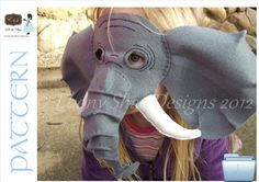 Elephant Mask PATTERN.  One size fits most.  Instant Download.  Printable.. $4.00, via Etsy.