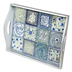 blue tray are these tiles or paper squares decorating this tray -lovely