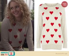 Carrie's beige and red heart sweater on The Carrie Diaries. Outfit Details: http://wornontv.net/24767 #TheCarrieDiaries #fashion