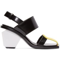 Marni Tricolor Leather Colorblock Heels (55.650 RUB) ❤ liked on Polyvore featuring shoes, sandals, sandales, black yellow, yellow pumps, black strappy shoes, block heel shoes, black shoes and colorful pumps